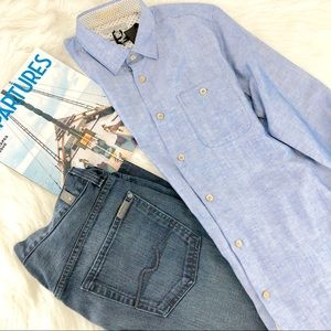 NWT TED BAKER Blue Herringbone Pattern Button-up